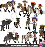 Cowboy Kids Clip Art - Multicultural Western Kids Riding,