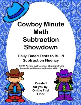 Cowboy Minute Math Subtraction Showdown Daily Timed Tests to Build Fluency