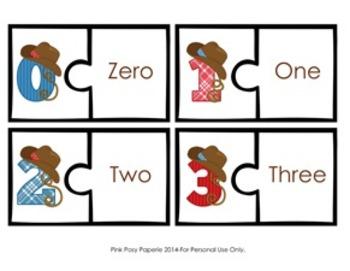 Cowboy Number Puzzles 0-20