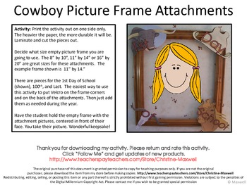 Cowboy Picture Frame Attachments First Day, 100th Day, & Last Day Of School