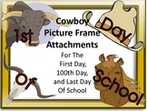 Cowboy Picture Frame Attachments First Day, 100th Day, & L