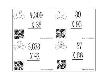 Cowboy QR Codes: Multiplication Task Cards