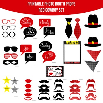 Cowboy Red Printable Photo Booth Prop Set