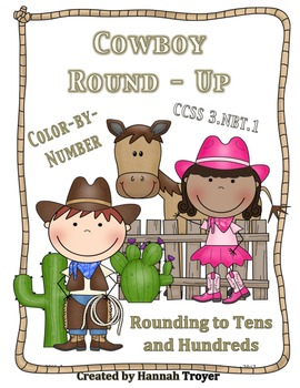 Cowboy Round-Up Rounding to Tens and Hundreds Coloring Pages