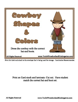 Cowboy Shapes and Colors - 12 Shapes and Colors - Wild West theme center