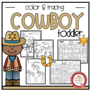 "Cowboy Theme Coloring and Scissor Practice ""No Prep"""