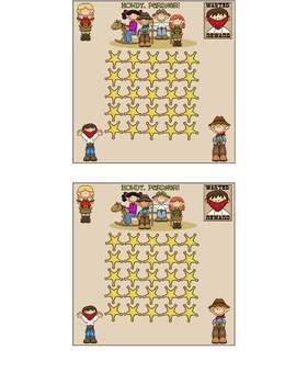 Cowboy Theme Incentive Sticker Chart