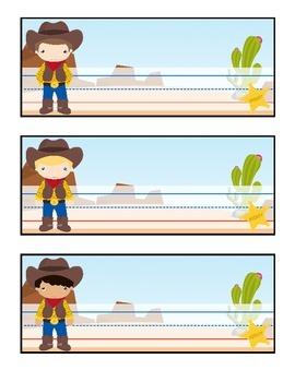 Cowboy Theme Name Tags