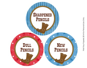 Cowboy Theme Pencil Caddy Labels