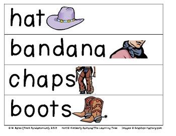 Cowboy Theme Pocket Chart Word Cards