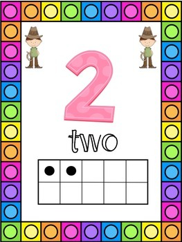 Cowboy Themed 0-20 Numbers Posters