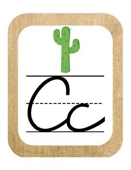 Western/ Cowboy Themed Classroom ABC Cursive Printables