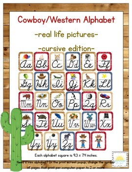 Western/ Cowboy Themed ABC Cursive Printables (with corresponding pictures)