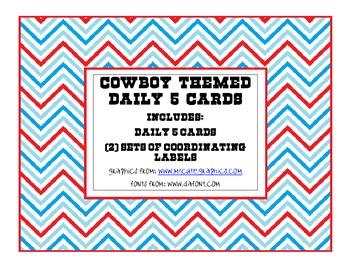 Cowboy Themed Daily 5 Cards - Custom