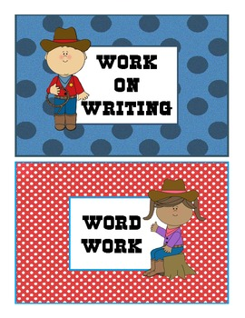 Cowboy Themed Daily 5 Cards and Labels