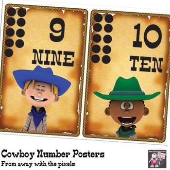 Cowboy Themed Numbers Posters to Print - One to Ten for Western Classroom Themes