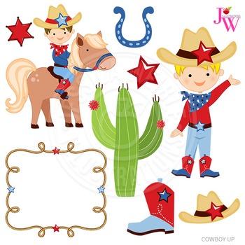 Cowboy Up Cute Digital Clipart, Cowboy Graphics