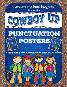 Cowboy Up! Western Theme Punctuation Posters Set