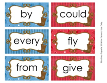 Cowboy Western 1st Grade Dolch Sight Wall Words