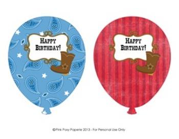 Cowboy Western Birthday Balloons (4 different designs)