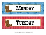 Cowboy Western Classroom Decor Days of the Week Calendar Headers
