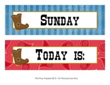 Cowboy Western Classroom Decor Days of the Week Calendar Headers