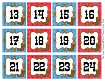 Cowboy Western Classroom Decor Monthly Calendar Numbers