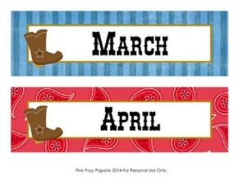 Cowboy Western Classroom Decor Monthly Calendar Headers