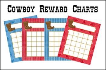 Cowboy Western Incentive Reward Charts - 4 Different Designs