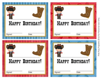 Cowboy Western Theme Birthday Certificates