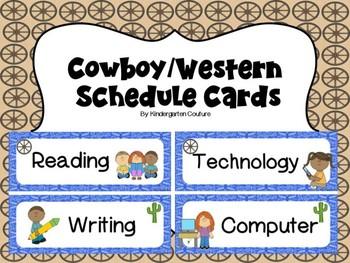 Cowboy/Western Theme Schedule Cards