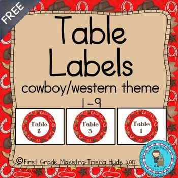 Cowboy Western Theme Table Labels