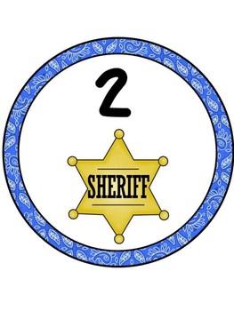 Cowboy/Western Table Numbers 1-8