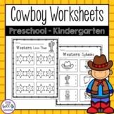 Cowboy/Western Themed Printables for Preschool - Kindergarten