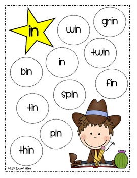 Cowboy Word Family Games