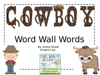 Cowboy Word Wall Words
