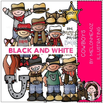 Cowboys clip art - BLACK AND WHITE- by Melonheadz