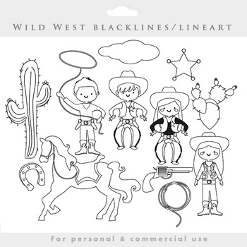 Cowboy clipart blacklines - line art wild west clip art cowgirls black lines