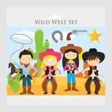 Cowboy clipart - wild west clip art, cowgirls, horse, lasso, cactus