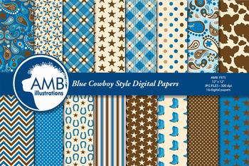 Cowboy digital paper, Cowboys in Blue background, Western AMB-1975