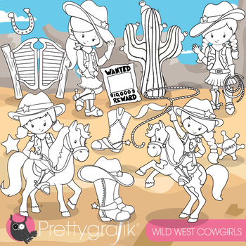Cowboy girls stamps,  commercial use, vector graphics, ima