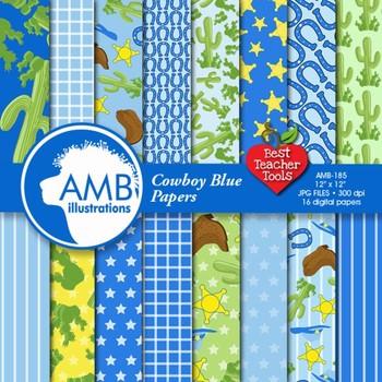Digital Papers - Cowboy digital paper in blue, AMB-185