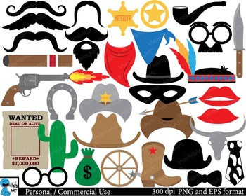 Cowboy props Digital Clip Art Personal Commercial Use 106 images cod159