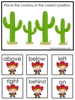 Cowboy themed Positional Game.  Printable Preschool Curric