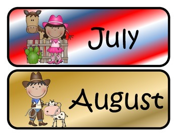 Cowboy/Cowgirl Themed Monthly Calendar Headers