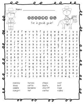 Cowboy/Western Word Search: Saddle Up For a Great Year!