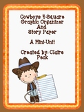 Cowboys 4-Square Graphic Organizer and Story Paper