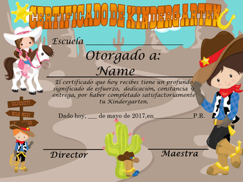 Cowboys Achievement Award Spanish & English version Editable!!!