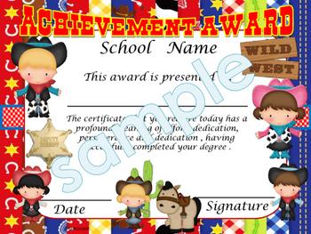 Cowboys Achievement award English / Spanish version