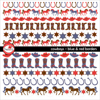 Cowboys Blue & Red Borders by Poppydreamz